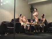 Sharing sexual colleagues at a pillar dancing clubs intimate room