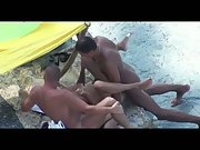 Beach 3some mfm filmed by a hidden cam wild group romp in public